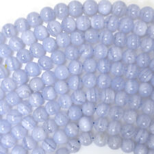 "Natural Blue Lace Agate Round Beads Gemstone 15.5"" Strand 4mm 6mm 8mm 10mm 12mm"