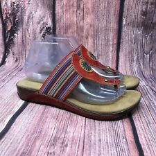 Spring Step Yasmin Women's Red Leather Flip Flop Thong Sandals Size 39 US 8.5