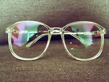 Geek Nerd Retro Vintage Clear Lens Glasses in Transparent Perspex Frame