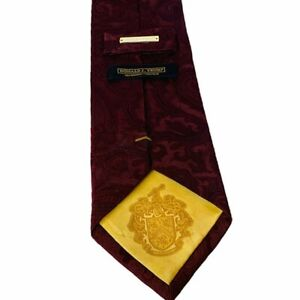 """Donald Trump tie signature collection maroon red gold 57"""" gold pin President usa"""