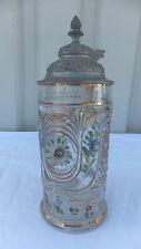 Bonito antigua Krug jarra con estaño tapa pressglas con correo electrónico pintura