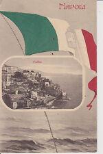 E195-POSILLIPO(NAPOLI) VEDUTA CON BANDIERA ITALIANA CON STEMMA SABAUDO