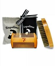 BEARD & Mustache PEARWOOD Comb & Natural BOAR Bristle Brush Styling 2Ps GIFT SET