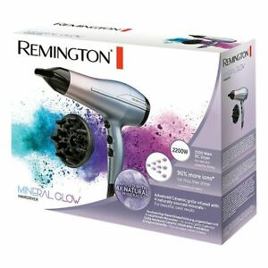 Remington Mineral Glow Ionic Hair Dryer, Slim Concentrator and Diffuser 2200W