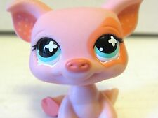 2008 Littlest Pet Shop Pink Peach Pig #885 Polka Dot Ears Teal Eyes Hasbro LPS