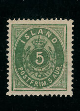 ICELAND #16 Unused NO GUM, 5a Green, 1882: SCV $75.00 NO THINS, NICE STAMP