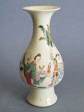Rare19th Chinese Antiques Qing Dynasty Color Pastel  Figure Vase