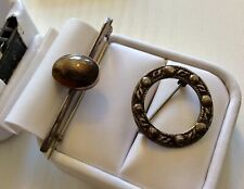 2 x Early Vintage Scottish Silver Brooches Celtic & Agate