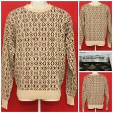 """CLAIBORNE Mens Beige Multicolor Geometric Crewneck Sweater 22"""" PIT2PIT JLY-18"""
