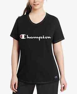 Champion Women's Plus Size Logo T-Shirt Black Size 1X