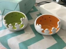 Partylite Spooky Ghost Tealight Candle Holders Pair Halloween #P9778