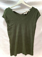 Womens~ANN TAYLOR LOFT~Olive Green~Knit Top~Short Sleeves~Size PETITE MEDIUM~EUC