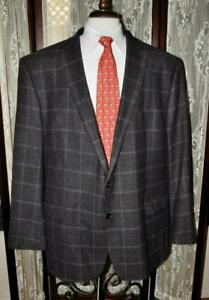 Lauren Ralph Lauren 54 L brown blue windowpane 100% wool sport coat blazer w0j6