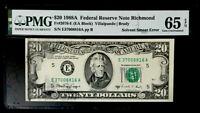 GEM $20 1988A FEDERAL RESERVE NOTE SOLVENT SMEAR ERROR - PMG #65 EPQ GEM UNC