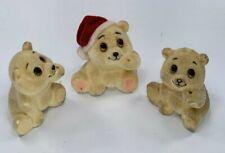 3 Vintage Mini Valentine & Christmas Flocked Bear Russ Lot Figurines A1129