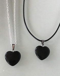 Protection Anxiety Black Obsidian Heart Pendant Cord/Silver Chain Necklace