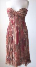 CARLOS MIELE Floral Silk Chiffon Pleated Bustier Dress 2 4