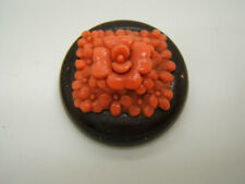 Vintage Wood and Coral Color Plastic Button Pin Brooch