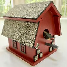Pristine Authentic Vintage Red Barn Birdhouse w/Real Roof Shingles Decor Windows