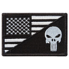 Black US Flag Skull Motorcycle Biker Sniper Army Punisher Iron on Patches #P039