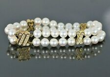 $8,000 Mikimoto 18K Yellow Gold 6.5-7mm Akoya Pearls Double Strand X Bracelet