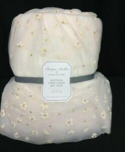 Pottery Barn Kids Monique Lhuillier Blossom Embellished Bed Skirt floral FULL