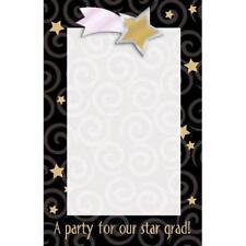 Glitzy Graduation Congrats Grad Black Gold Stars Party Printable Invitations