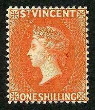 St Vincent SG58 1/- Orange wmk Crown CA STUNNING COLOUR M/M