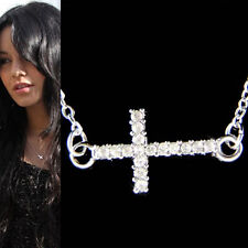 w Swarovski Crystal Sideway CROSS God Lord Jesus Christ Charm Religious Necklace