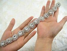 Splendidi strass da sposa Applique Trim Perline motivo diamante wedding APPLIQUE