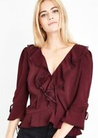 New Look - Burgundy Frill Lace Trim Peplum Top - Size 12 - BNWT