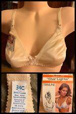 Vintage Bra Seamless Smooth Lined Nylon 1970s Beige Nude Adjustable Straps 34C