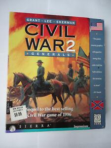 CIVIL WAR 2 II GENERALS BIG BOX PC CD Rom Game NTSC US Grant Lee Sherman Sierra