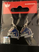 BOISE STATE UNIVERSITY NCAA Dangle Wire Chrome Earrings Licensed Jewelry