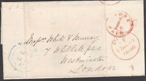 "1848 WRAPPER + FINE ""YORK / 1D / PAID"" UNIFORM PENNY POST HANDSTAMP. UPP."