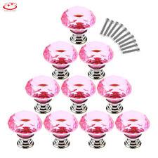 30/40/50mm Diamond Shape Crystal Glass Cabinet Knob Drawer Cupboard Pull Handle