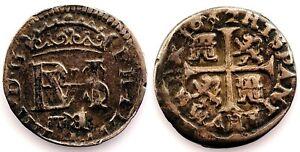Spain-Felipe IV. 1/2 real 1652 sobre 32. B invertido. Plata 1,4 g. Muy escasa