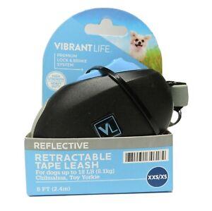 Vibrant Life Retractable Tape Leash 8ft -  XXS/S Black/Grey - New, Free Ship
