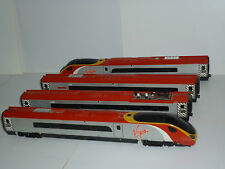 HORNBY VIRGIN TRAIN, DUMMY CAR AND TWO COACHES FOR SPARES OR REPAIRS