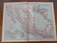 Mapa Antiguo Color c1904 de México y América Central con British Honduras en muy buena condición