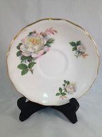 "Pink & Yellow Floral Saucer - Royal Vale Ridgway Potteries LTD - 5-1/2"" Diameter"