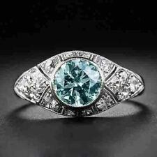 925 Sterling Silver Antique Vintage 2.90CT Round Aqua Moissanite Engagement Ring