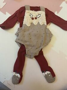 First Size Newborn Baby Christmas Pudding Outfit Romper Tights Winter