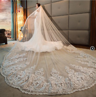 Long Cathedral Length Bridal Wedding Veils White Ivory Beaded Sequins Lace Stock