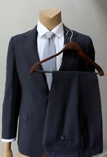Pinstriped Men's Three 3 Piece Retro Vintage Vest Blue Vented Suit Sz 36R 36x31