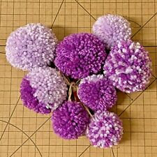Wool-Yarn-Pom Pom-4x Pompom-Handmade-Purple & Lilac-Crafts