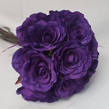 ARTIFICIAL SILK FLOWERS LUXURY PURPLE ROSE BUNCH OR WEDDING BOUQUET