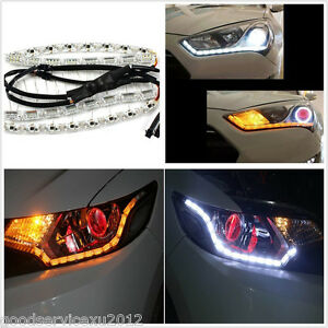 2 X Tear Eye Waterproof Car Dual Color LED DRL Light Strip Turn Signal Lamp 12V