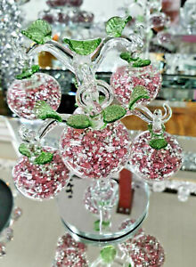 Stunning Crystal Rose Pink Glass Apple Tree 6 Crystal Clear Crushed Diamond