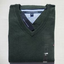 TOMMY HILFIGER MEN SWEATERS V NECK ALL SIZES NWT green gray white navy blue NEW